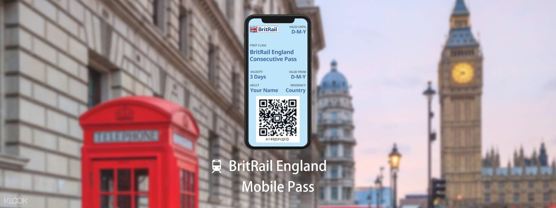 [E-Ticket] BritRail England Mobile Pass (Consecutive 3, 4